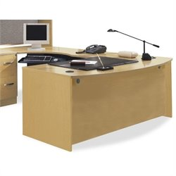 Bush BBF Series C 3-Piece L-Shape Left-Hand Corner Desk Set in Light Oak