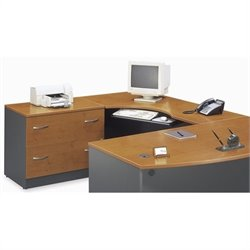Bush Business Series C Left L-Shape Wood Desk in Natural Cherry