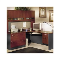 Bush BBF Corner Home Office Wood Desk Set with Hutch in Hansen Cherry Finish