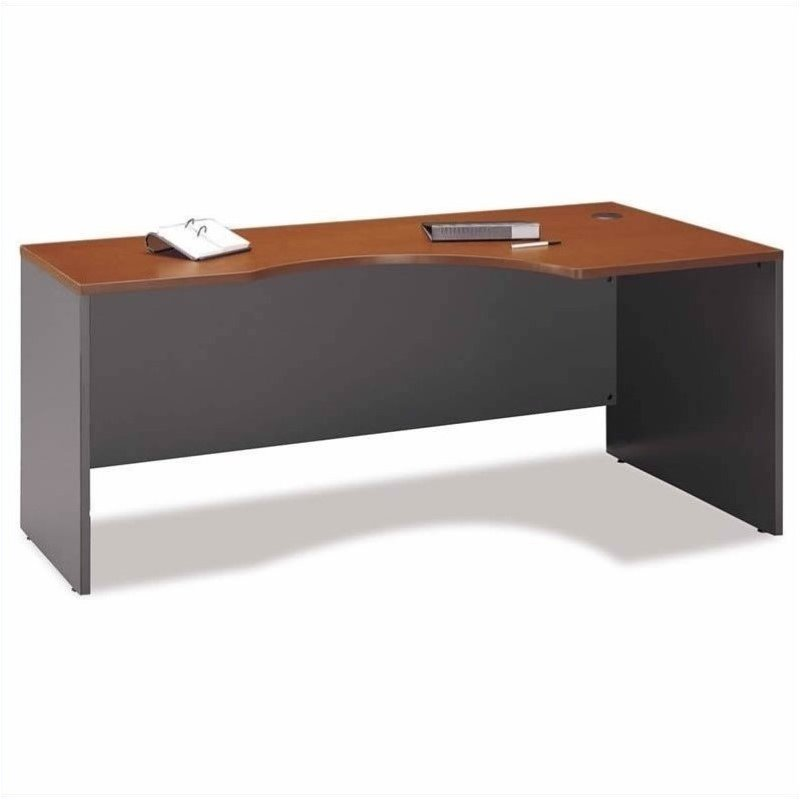 Bush BBF Series C L-Shaped Computer Desk with Hutch in Auburn Maple