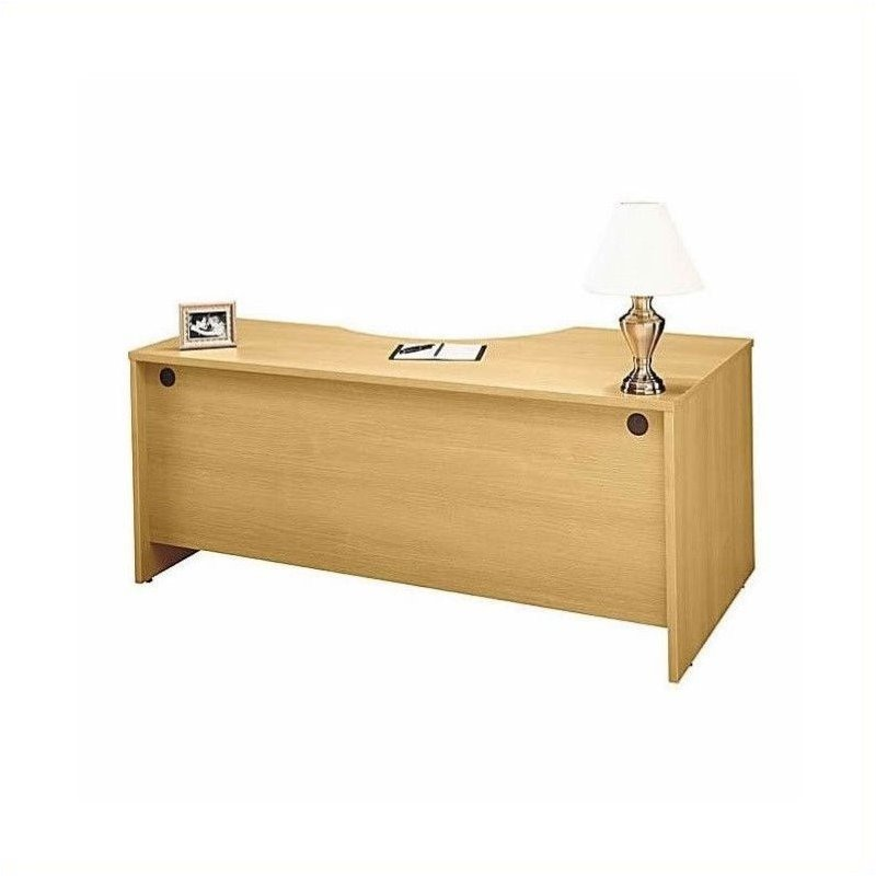 Bush BBF Series C L-Shape Left-Hand Desk with Lateral File in Light Oak