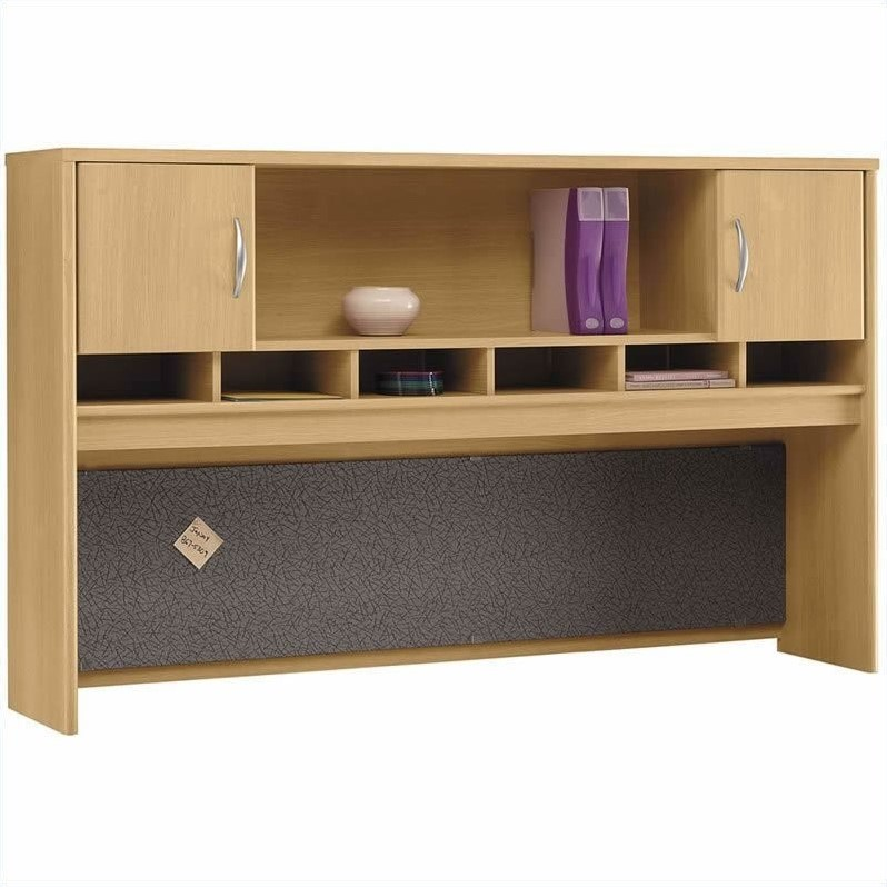 Bush BBF Series C 4-Piece L-Shape Left-Hand Corner Desk Set in Light Oak