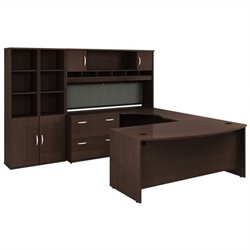 Bush BBF Series C Mocha Cherry Executive U-Shaped Desk