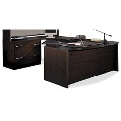 Bush BBF Series C 3-Piece U-Shape Right-Hand Corner Desk in Mocha Cherry