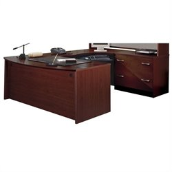 Bush BBF Series C 3-Piece Right-Hand U-Shape Corner Desk Set in Mahogany
