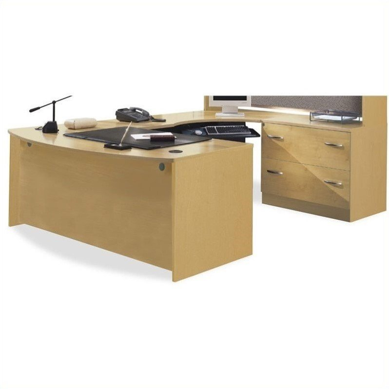 Bush BBF Series C Light Oak U-Shaped Desk