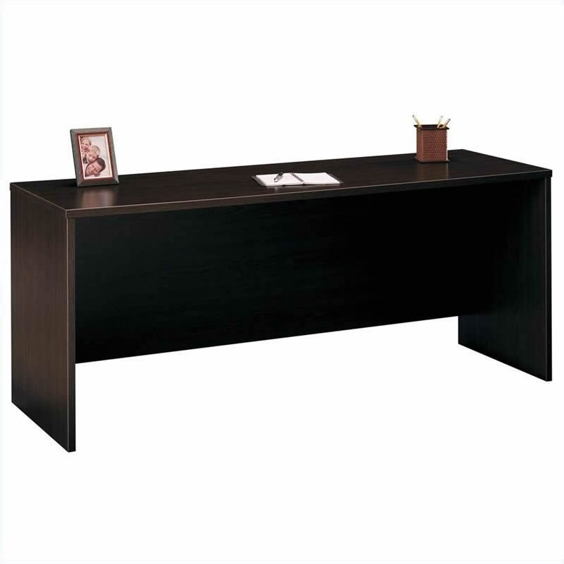 Bush BBF Series C 5-Piece U-Shape Bow-Front Desk Set in Mocha Cherry