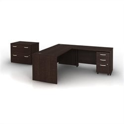 Bush BBF Series C 4-Piece L-Shape Computer Desk in Mocha Cherry