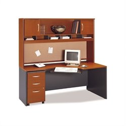 Bush BBF Wood Home Office Computer Desk Set with Hutch in Auburn Maple