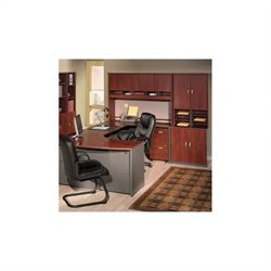 Bush BBF Series C 6-Piece U-Shape Right Bow-Front Desk in Hansen Cherry