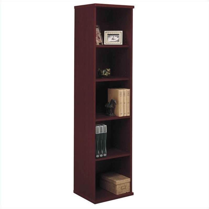 Bush Business Series C 3-Piece L-Shape Desk with Bookcase in Mahogany