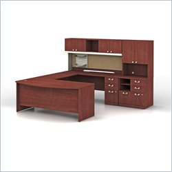 Bush BBF Quantum Executive U-Shape Wood Office Set in Harvest Cherry