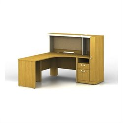 Bush BBF Quantum LH L-Workstation with Low Hutch Storage and Storage Tower in Modern Cherry