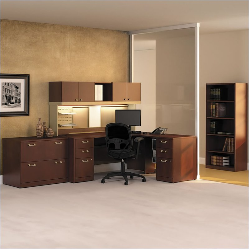 Bush BBF Quantum Wood L-Desk Set with Hutch in Harvest Cherry