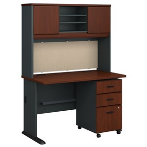 Bush Business Furniture Series A 48W Desk, Hutch and 3 Drawer Mobile Pedestal