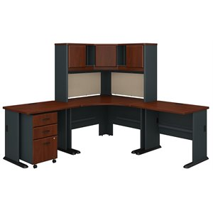Bush Business Furniture Series A 84W X 84D Corner Desk and Hutch With 3  Drawer Mobile Pedestal