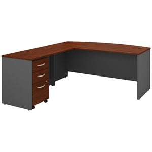 Bush Business Furniture Series C 72W Bow Front Desk With 48W Return and 3 Drawer Mobile Pedestal