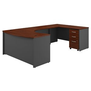 Bush Business Furniture Series C 60W RH Bow Front U Station With 3 Drawer Mobile Pedestal