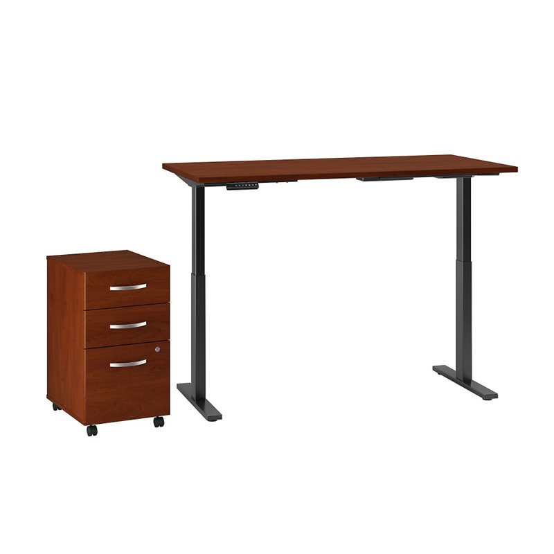 Bush Business Move 60 Series 60x24 Height Adjule Standing Desk With Storage In Hansen Cherry