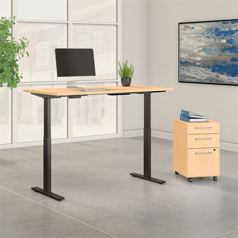 bush business move 60 series 72x30 height adjustable standing desk with storage in natural maple - Height Adjustable Standing Desk