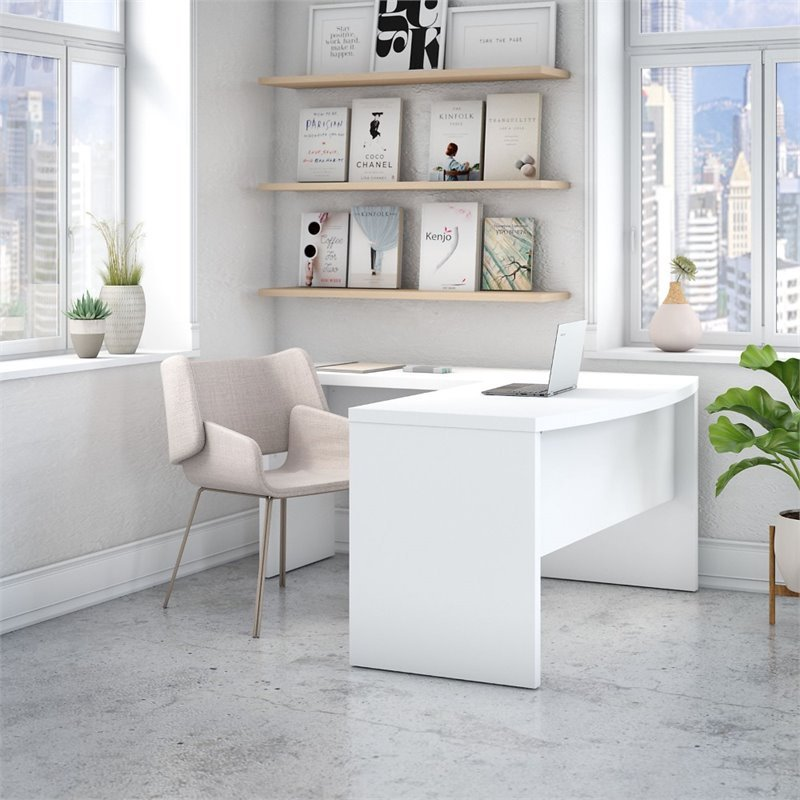 Echo Bow Front L Shaped Desk in Pure White - Engineered Wood