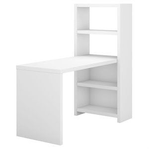 Echo 56W Bookcase Desk in Pure White - Engineered Wood