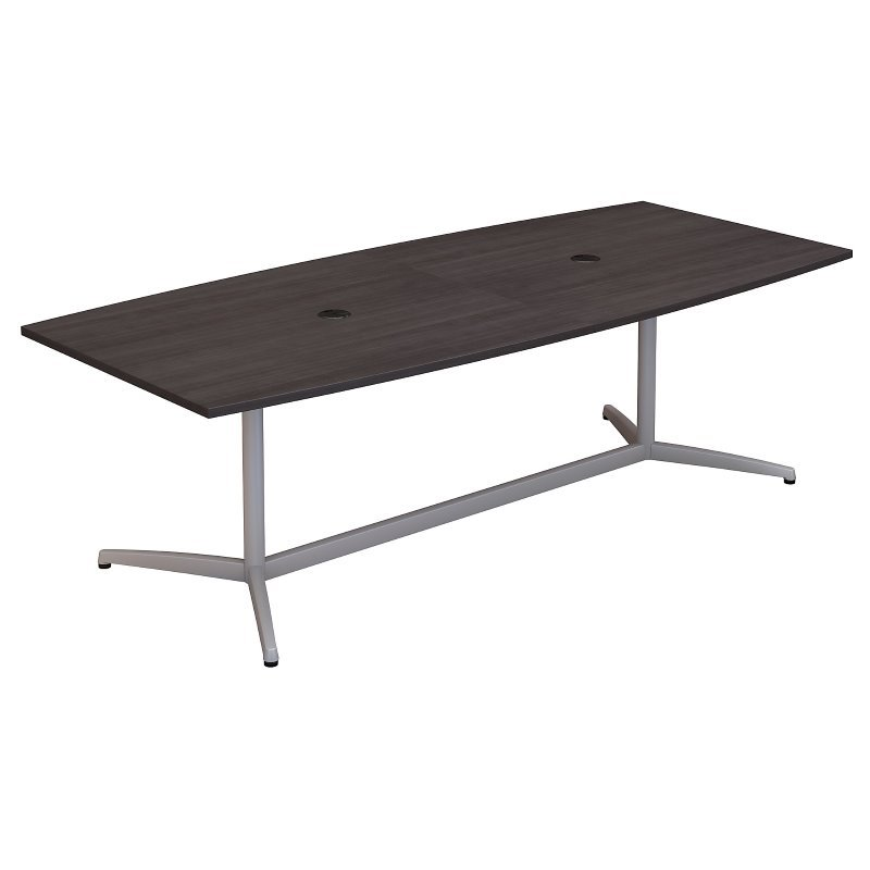 Bush Business Furniture 96W x 42D Boat Shaped Conference Table with Metal Base in Storm Gray
