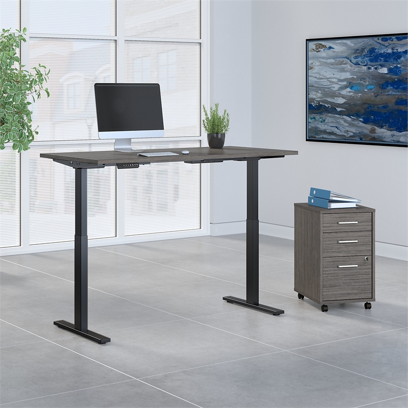Bush Business Furniture Move 60 Series 60W x 30D Height Adjustable Desk with Storage in Cocoa