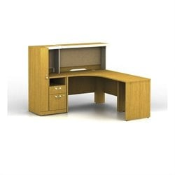 Bush BBF Quantum RH L-Workstation with Low Hutch Storage and Storage Tower in Modern Cherry