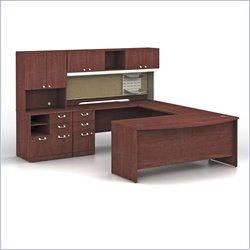 Bush BBF Quantum Left Facing Wood U-Shaped Desk in Harvest Cherry