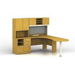 Bush BBF Quantum RH Peninsula L-Workstation with Hutch and Piler-Filer in Modern Cherry