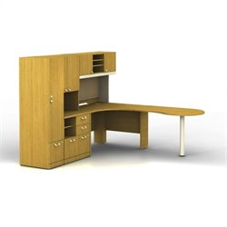 Bush BBF Quantum RH L-Workstation with Hutch and Piler-Filer with Locker in Modern Cherry