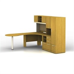 Bush BBF Quantum LH L-Workstation with Hutch and Piler-Filer with Locker in Modern Cherry