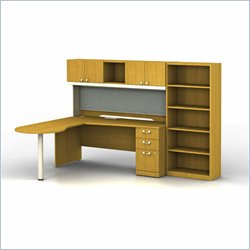 Bush BBF Quantum 72WX30D LH Peninsula L-Desk w 3Dwr Ped and 5-Shelf Bookcase in Modern Cherry