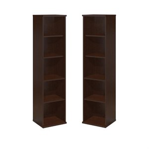 (Set of 2) 5 Shelf Bookcase in Mocha Cherry