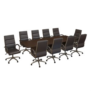 Bush Business Furniture 120W x 48D Conference Table with Set of 10 Office Chairs