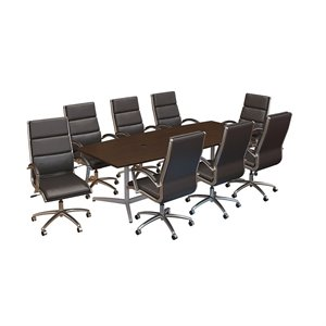 Bush Business Furniture 96W x 42D Conference Table with Set of 8 Office Chairs