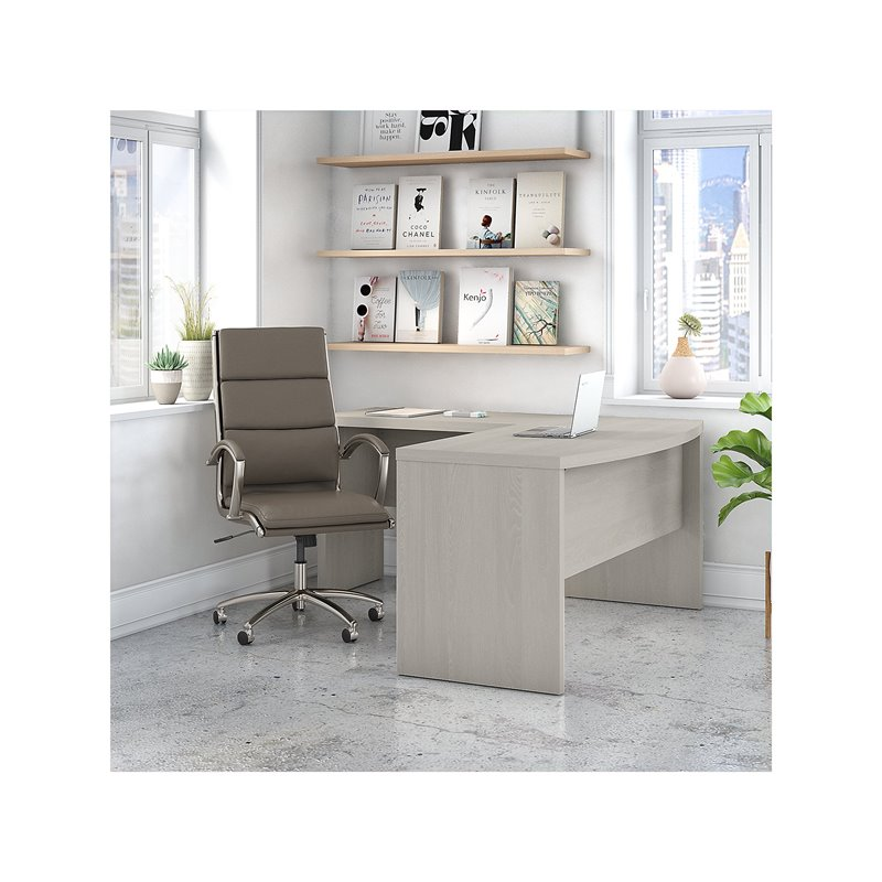 Bush Business Furniture Office by kathy ireland Echo L Shaped Bow Front Desk with High Back Chair