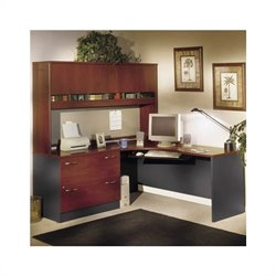 Bush BBF Corner L-Shape Office Desk Set with Hutch in Hansen Cherry