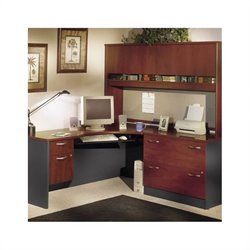 Bush BBF Corner L-Shape Wood Home Office Set with Hutch in Hansen Cherry