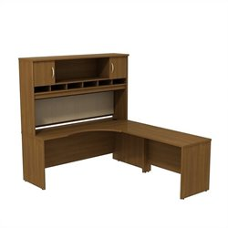 Bush BBF Series C 72W x 24D RH Corner Desk with Hutch in Warm Oak