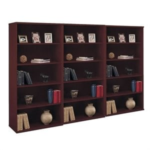 Bush Business Series C 5 Shelf 3 Piece Wall Bookcase Set in Mahogany