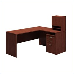 Bush BBF Venture Hansen Cherry L-Shape WorkStation with Hutch and Pedestal