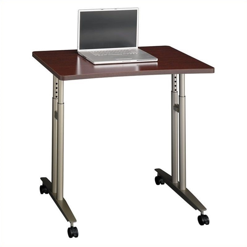 Bush BBF Series C Adjustable Height Mobile Table in Mahogany
