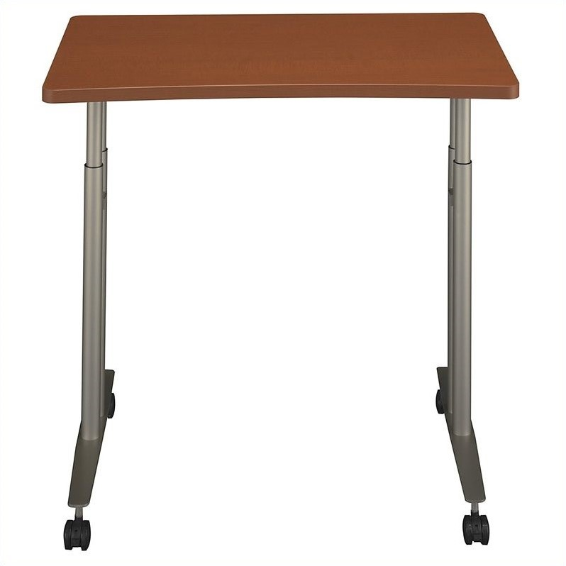 Bush BBF Series C Adjustable Height Mobile Table in Auburn Maple
