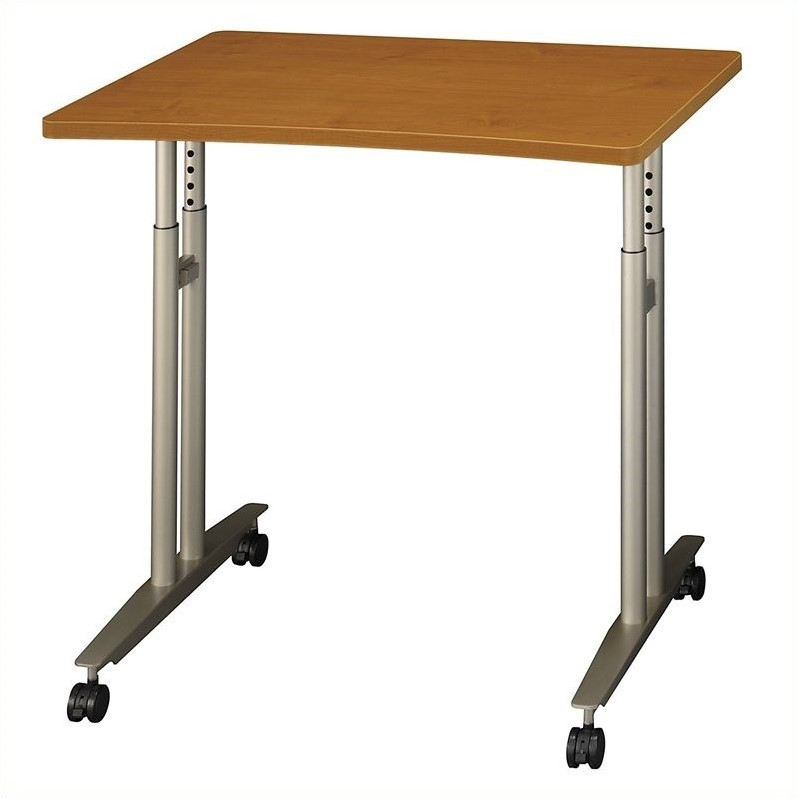 Bush BBF Series C Adjustable Height Mobile Table in Natural Cherry