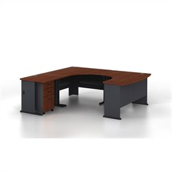 Bush BBF Series A 4-Piece U-Shape Wood LH Computer Desk in Hansen Cherry