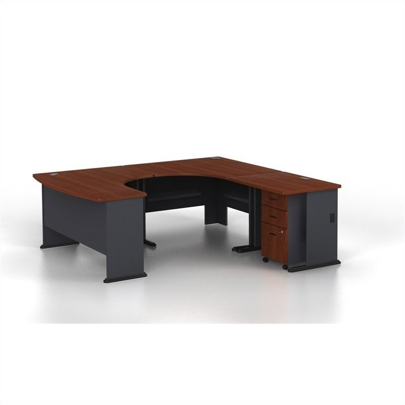 Bush Business Series A U-Shaped Right Computer Desk in Hansen Cherry
