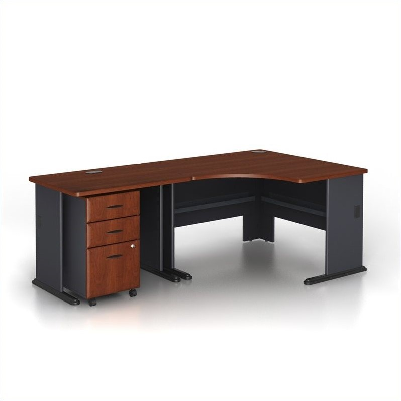 computer desk workstation table 3 piece wood corner in hansen cherry 688168830501 ebay. Black Bedroom Furniture Sets. Home Design Ideas