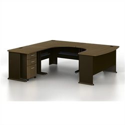 Bush BBF Series A U-Shaped Left Computer Desk in Sienna Walnut